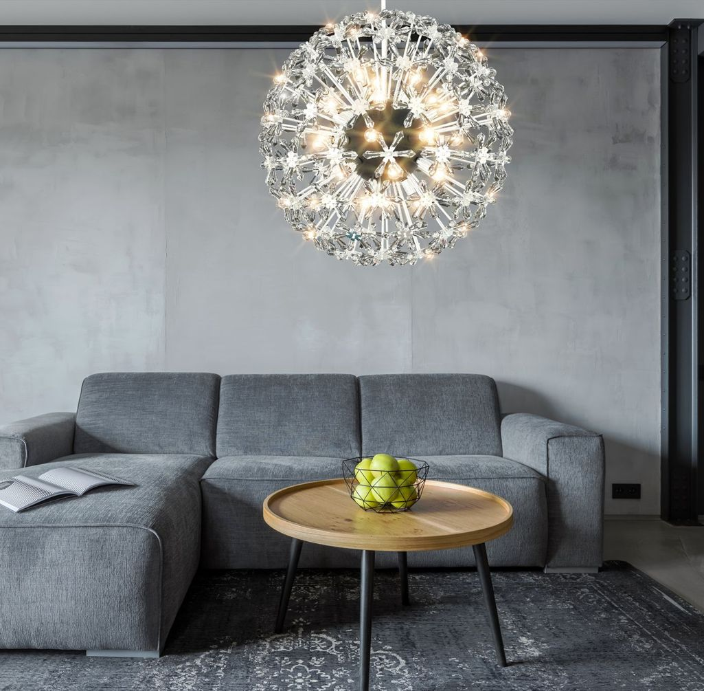 bespoke chandelier inspired by dandelion hanging in modern and minimal interior
